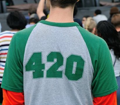 A patron wears a 420 themed tee shirt at the National Cannabis Festival, Saturday, April 23, 2016 at RFK Stadium. /Photo by Patricia Little @5feet2