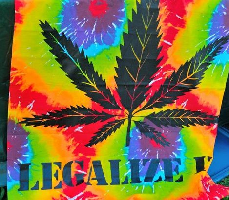 A hemp tye-dye blanket on display at the National Cannabis Festival, Saturday, April 23, 2016 at RFK Stadium. /Photo by Patricia Little @5feet2