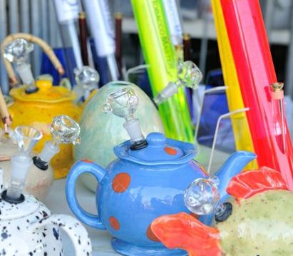 Colorful cannabis apparatuses available for purchase during the National Cannabis Festival, Saturday, April 23, 2016 at RFK Stadium. /Photo by Patricia Little @5feet2
