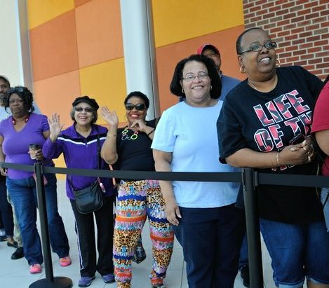 Patrons line up for the 11 a.m. grand opening of Dave and Buster's restaurant, Monday, April 25, 2016 in Capitol Heights, MD. /Photo by Patricia Little @5feet2