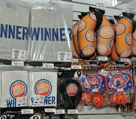 Assorted merchandise available to purchase during the grand opening of Dave and Buster's restaurant, Monday, April 25, 2016 in Capitol Heights, MD. /Photo by Patricia Little @5feet2