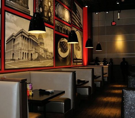Dining booths available to patrons inside the newly opened Dave and Buster's restaurant in Capitol Heights, MD. /Photo by Patricia Little @5feet2