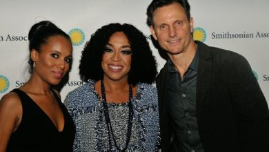 Actress Kerry Washington (Olivia Pope), Producer Shonda Rhimes, and actor Tony Goldwyn (President Fitzgerald Grant), attend the Scandal cast event sponsored by the Smithsonian Associates on Thursday April 28, 2016 at the UDC Theater Arts auditorium in northwest./Photo by Patricia Little @5feet2