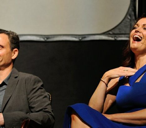 Actors Tony Goldwyn and Bellamy Young share show secrets during a panel discussion sponsored by the Smithsonian Associates on Thursday April 28, 2016 at the UDC Theater Arts auditorium in northwest. /Photo by Patricia Little @5feet2