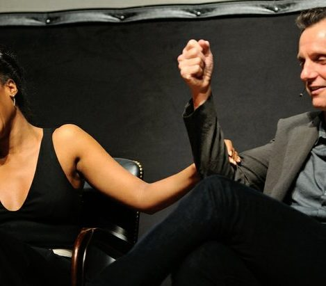 Kerry Washington reacts to a joke by Tony Goldwyn during a panel discussion at the Smithsonian Associates Scandal Event on Thursday April 28, 2016 at the UDC Theater Arts auditorium in northwest. /Photo by Patricia Little @5feet2