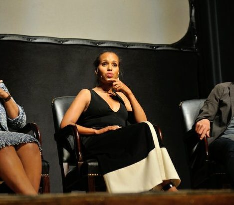 Producer Shonda Rhimes, Kerry Washington, and Tony Goldwyn participate in a panel during the Smithsonian Associates Scandal Event on Thursday April 28, 2016 at the UDC Theater Arts auditorium in northwest./Photo by Patricia Little @5feet2