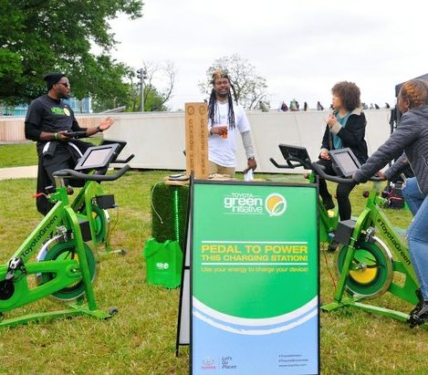 Festival attendees pedal electric bicycles by Toyota Green Initiative to recharge their devices during the 4th Annual Broccoli City Festival at the DC gateway pavilion on Saturday, April 30, 2016 in southeast. /Photo by Patricia Little