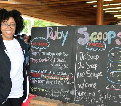 DC Entrepreneur Rabia Kamara of Ruby Scoops, sells ice cream and sweets during the third annual Broccoli City Festival at the D.C. Gateway Pavilion in Southeast. /Photo by Patricia Little @5feet2