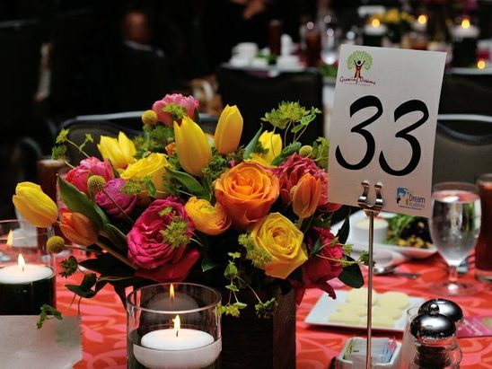 Table decor at the 15th Annual Power of a Dream Gala on Tuesday, May 3, 2016 at the Renaissance Hotel in Northwest. /Photo by Patricia Little @5feet2
