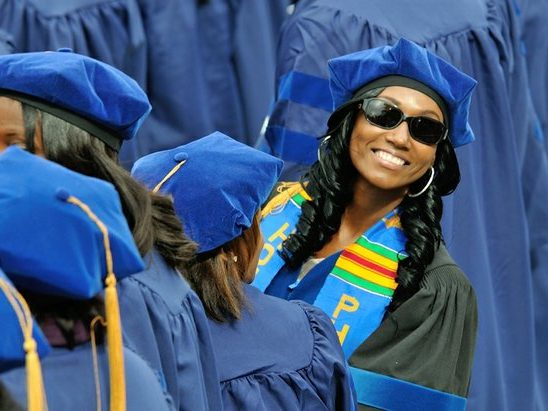 Students are excited to participate in the 148th Commencement Convocation at Howard University on Saturday, May 7, 2016 in Northwest. /Photo by Patricia Little @5feet2