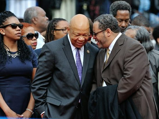 Senator Elijah Cummings (center) and Professor Michael Dyson (right) attend the 148th Commencement Convocation at Howard University on Saturday, May 7, 2016 in Northwest. /Photo by Patricia Little