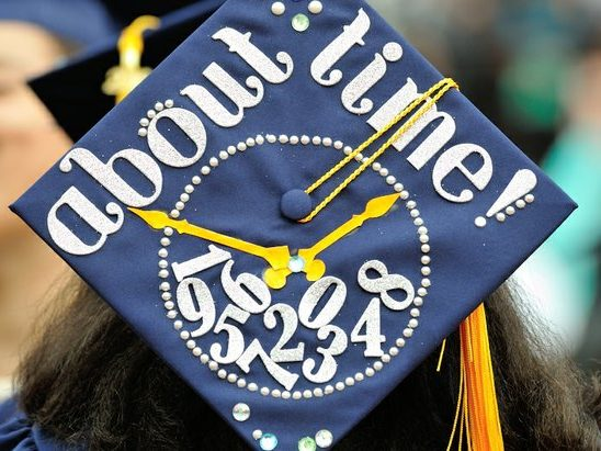 A student wears a decorated cap during the 148th Commencement Convocation at Howard University on Saturday, May 7, 2016 in Northwest. /Photo by Patricia Little