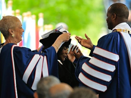 Actress, advocate and humanitarian Cicely L. Tyson, receives hood for the Degree of Doctor of Letters during the 148th Commencement Convocation at Howard University on Saturday, May 7, 2016 in Northwest. /Photo by Patricia Little @5feet2