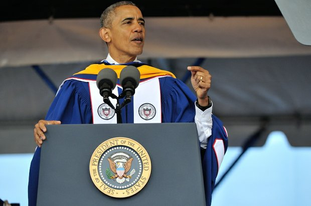 President Barack Obama delivers commencement oration during the 148th Commencement Convocation at Howard University on Saturday, May 7, 2016 in Northwest. /Photo by Patricia Little @5feet2