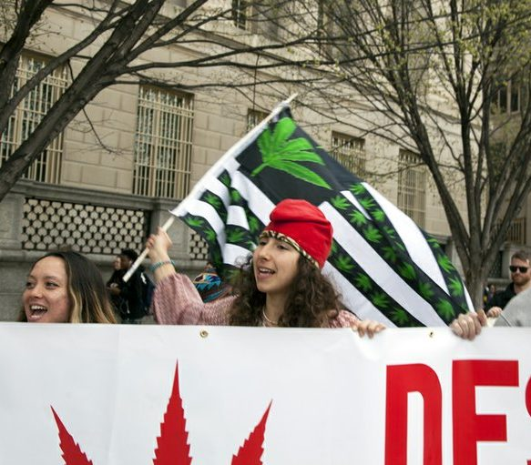 Marijuana activist Amanda holds a marijuana flag while carrying a banner at the civil disobedience protest in front of the White House Saturday, April 2, 2016. /Photo by Nancy Shia @nancy_shia