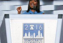Angela Bassett speaks during the DNCC in Philadelphia on Wednesday, July 27.