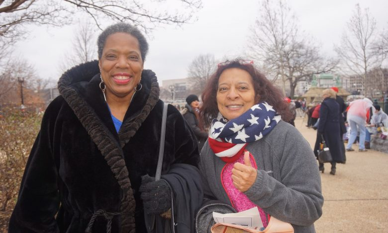 Zina Hackworth (left) and Connie A., two self-identified conservatives, attend the presidential inauguration of Donald Trump at the U.S. Capitol on Jan. 20. (Sarafina Wright/The Washington Informer)