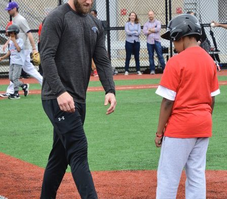 Bryce Harper the reigning National League Most Valuable Player gives pointers on running bases. /Photo by Travis Riddick @actor_TR