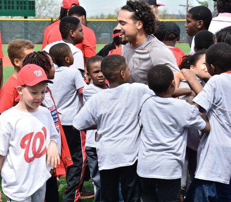 The all smiles Anthony Rendon prepares for a group photo with his adoring youth academy fans./Photo by Travis Riddick @actor_TR