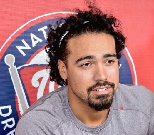 Anthony Rendon chats briefly with members of the press. /Photo by Travis Riddick @actor_TR