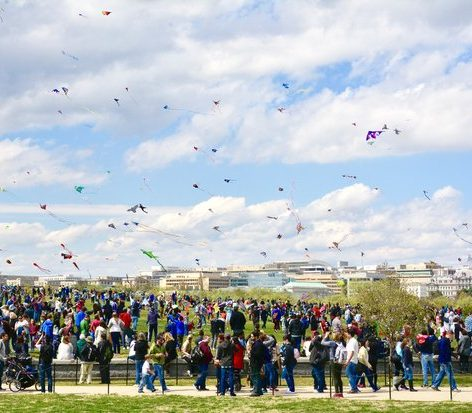 Kites of all shapes, sizes and characters took to the blue sky durring the 2016 Kite Festival at the Washington Monument. /Photo by Travis Riddick @actor_TR