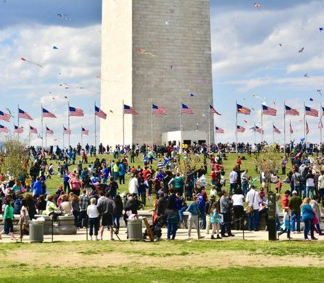 Thousands gathered on the grounds of the Washington Monument in celebration of the Annual Cherry Blossom Kite Festival. /Photo by Travis Riddick @actor_TR