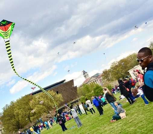 Artist Jones of Washington, DC gained more attention that most with his 25 foot snake kite. /Photo by Travis Riddick @actor_TR