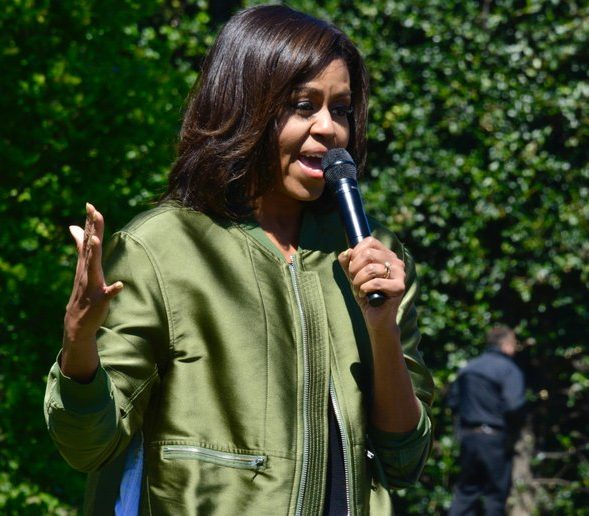 First Lady Michelle Obama thanks everyone who came to the spring planting of the White House Kitchen Garden, Tuesday April 5, 2016. /Photo by Travis Riddick @actor_tr