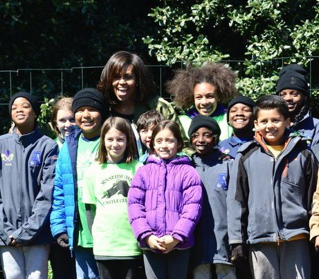 Students invited from Washburn, Wisconsin, Cortez, Colorado, New Orleans, Louisiana and Bancroft Elementary School in the District of Columbia stand with First Lady Michelle Obama after planting the White House Kitchen Garden Tuesday, April 5, 2016. /Photo by Travis Riddick @actor_tr