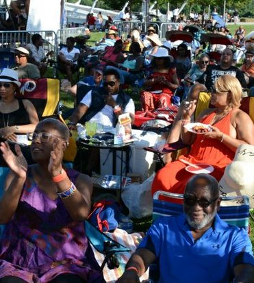 DC JazzFest 2016: Crowds show their joy with the music they are hearing in the Yards on Friday June 17 2016 in Southeast DC. /Photo by Roy Lewis