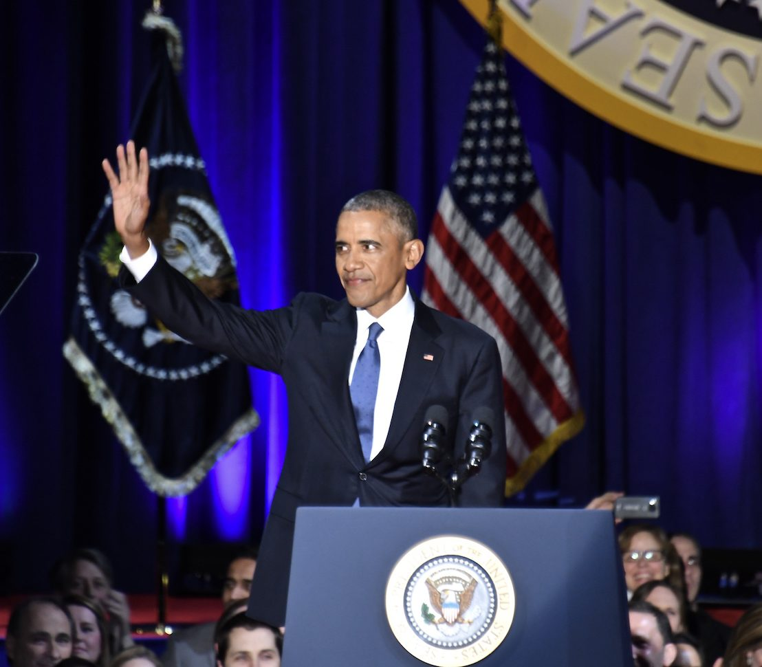 President Barack Obama gives his farewell address at McCormick Place in Chicago on Jan. 10, 2017. (Travis Riddick/The Washington Informer)