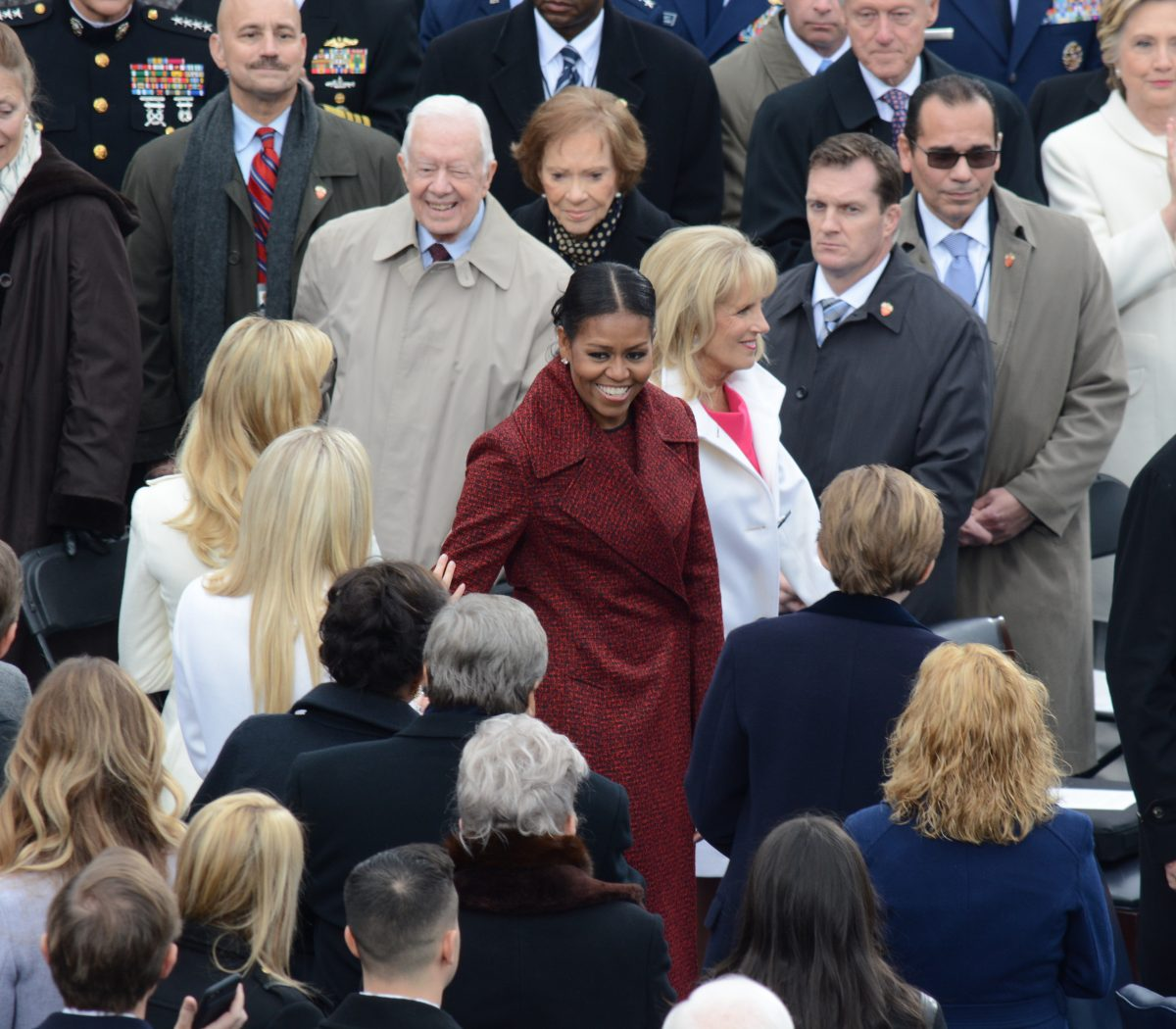 First Lady Michelle Obama and Dr. Jill Biden arrive at the 58th Presidential Inauguration on January 20, 2017. /Photo by Roy Lewis