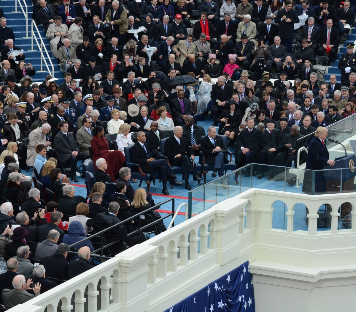 President Donald J. Trump gives the Inaugural address as the 58th President of the United States on January 20, 2017. /Photo by Roy Lewis