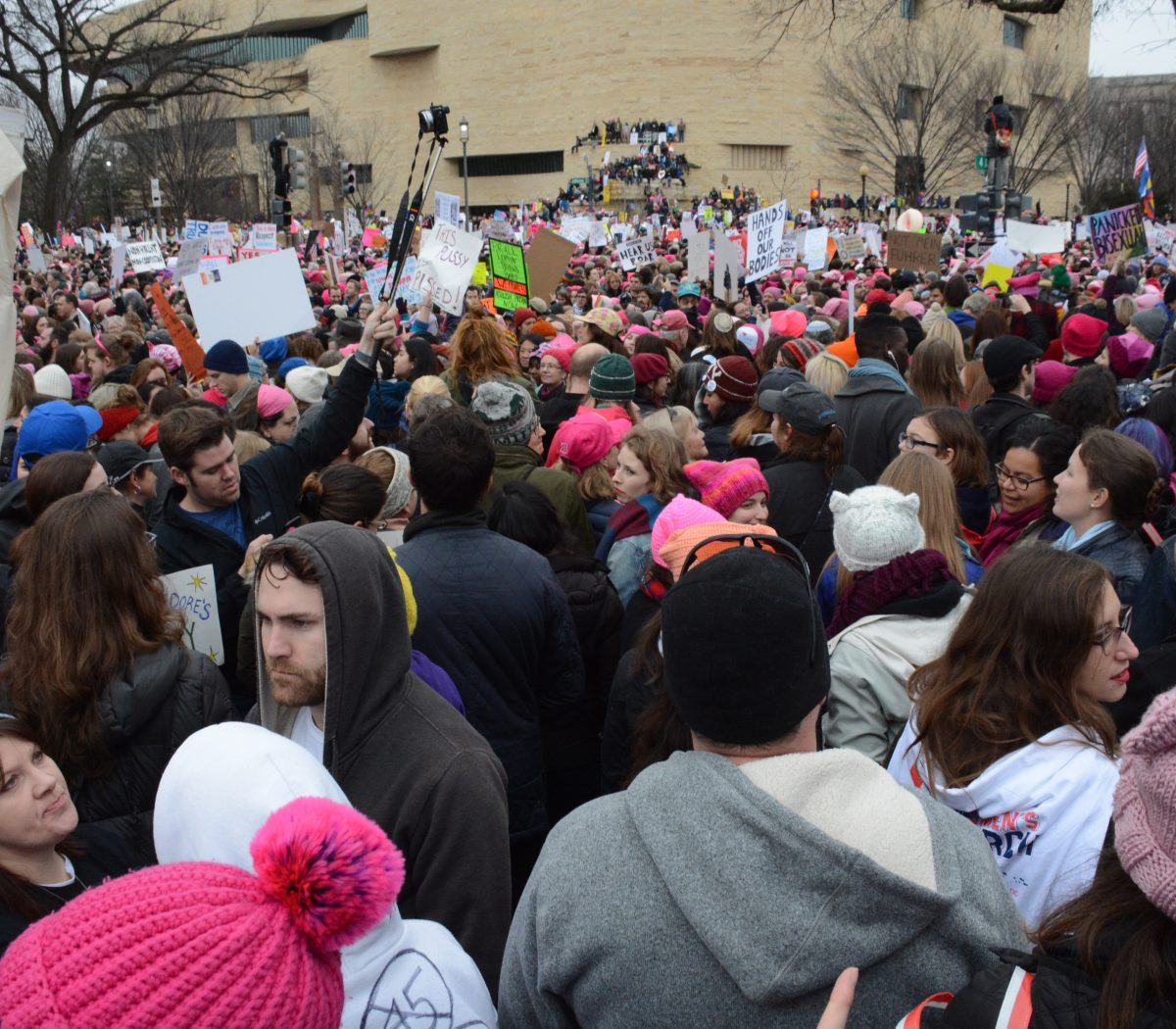 Women all over the world rang out a message demanding equality on Saturday, January 21, 2017. Over a million women showed up in Washington, D.C. /Photo by Roy Lewis