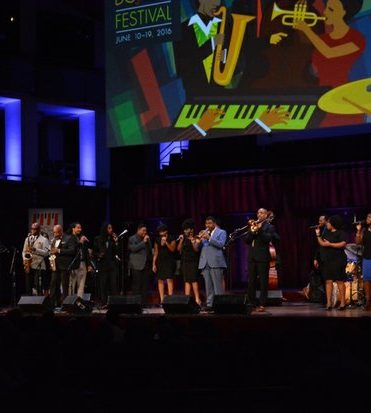 Howard DC Jazz Awards: The end of the concert and award show was the grand finale with all the performers Cyrus Chestnut, on piano NEA Jazz Master Benny Golson Gospel Master Richard Smallwood, Howard University Music Alumni, and Afro Blue on Monday June 13 2016 in Southwest DC. /Photo by Roy Lewis