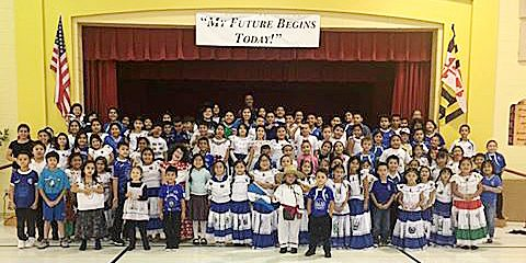 Students at Rosa Parks Elementary School in Hyattsville, Maryland, celebrate Hispanic Heritage Month. /Courtesy of PGCPS via Facebook