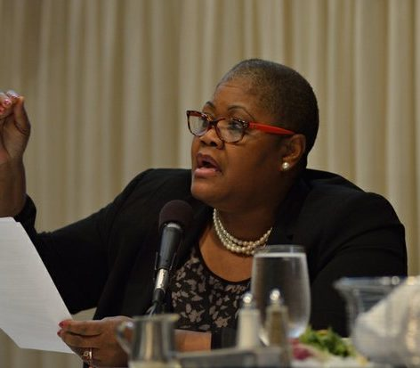 Melanie Campbell, president and CEO, National Coalition on Black Civic Participation, serves as a guest panelist at the Sixth Annual Stateswomen for Justice Luncheon at the National Press Club, Thursday, March 31, 2016 in Northwest. /Photo by Patricia Little @5feet2
