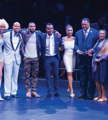 From left to right) Singer,Harpist Tulani, John Hartsfield, Actor Omari Hardwick, John Burns, Civil Rights Activist Jesse Jackson, Media Mogul Cathy Hughes. Poet, actor, artist and activist Omari Hardwick, Media Mogul Cathy Hughes, founder and Chairperson of Radio One, Inc. and Civil Rights Activist Reverend Jesse L. Jackson, Sr., founder and president of the Rainbow PUSH Coalition serve as Icon honorees during the Icon Talks Empowerment Tour on Thursday, June 30 at the Arena Stage Mead Center for American Theater in Southwest. /Photo by Patricia Little