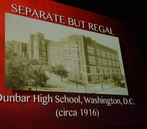 An archival photo of Dunbar High School is shown during the world premiere screening of Dunbar, Thursday, March 31, 2016 at the E Street Cinema in Northwest. /Photo by Patricia Little @5feet2