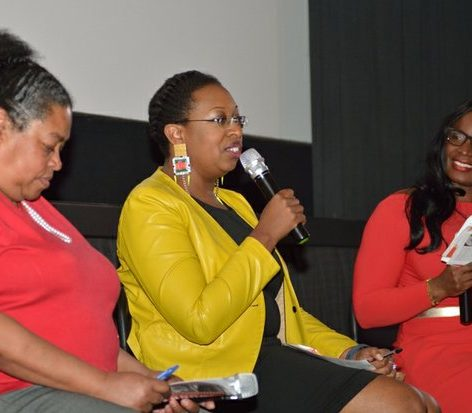 Moderator Dorothy Egbufor (right), Blanche Smith (left), and Kimberly Springer (center), historian and archivist, DC Public School System, participate in a panel discussion during the the world premiere screening of Dunbar, Thursday, March 31, 2016 at the E Street Cinema in Northwest. /Photo by Patricia Little @5feet2