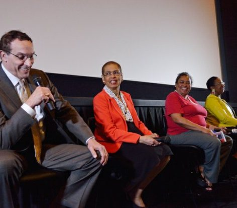Former DC Mayor Vincent Gray (left), Congress woman Eleanor Holmes Norton, Blanche Smith, Kimberly Springer, and moderator Dorothy Egbufor (right), participate in a panel discussion during the the world premiere screening of Dunbar, Thursday, March 31, 2016 at the E Street Cinema in Northwest. /Photo by Patricia Little @5feet2