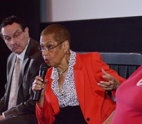 Congress woman Eleanor Holmes Norton, shares her experience as a student at Dunbar High School during a panel discussion at the world premiere screening of Dunbar, Thursday, March 31, 2016 at the E Street Cinema in Northwest. /Photo by Patricia Little @5feet2