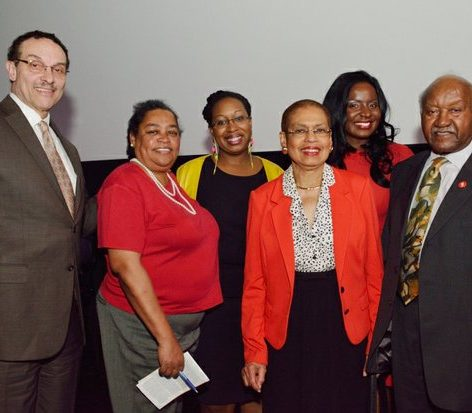 Former DC Mayor Vincent Gray, Blanche Smith, Kimberly Springle, Eleanor Holmes Norton, moderator Dorothy Egbufor, serve as guest speakers during the world premiere screening of Dunbar, Thursday, March 31, 2016 at the E Street Cinema in Northwest. /Photo by Patricia Little @5feet2