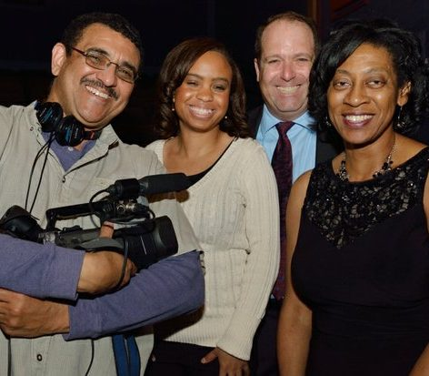 S. Torriano Berry (left), director of photography and editor, Crystal J. Taylor (center), photo researcher, Jimmy Monack (2nd right), executive producer and director, and Lorraine M. Blackwell (right), producer, attend the world premiere screening of Dunbar, Thursday, March 31, 2016 at the E Street Cinema in Northwest. /Photo by Patricia Little @5feet2