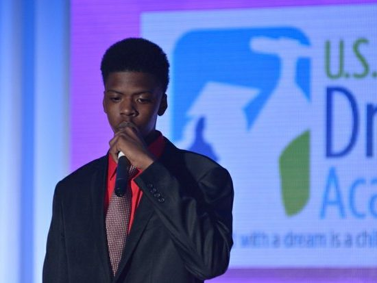 Sophomore Marcus Randolph, Digital Harbor High School, delivers keynote address during the 15th Annual Power of a Dream Gala on Tuesday, May 3, 2016 at the Renaissance Hotel in Northwest. /Photo by Patricia Little @5feet2