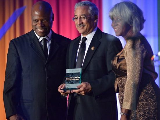 The Honorable Bobby C. Scott (center), receives the Legacy Award during the 15th Annual Power of a Dream Gala on Tuesday, May 3, 2016 at the Renaissance Hotel in Northwest. /Photo by Patricia Little @5feet2