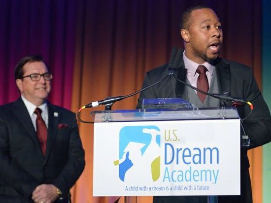 Jarrett M. Adams, J.D., delivers remarks after receiving the Martin Luther King, Jr. Community Award during the 15th Annual Power of a Dream Gala on Tuesday, May 3, 2016 at the Renaissance Hotel in Northwest. /Photo by Patricia Little @5feet2