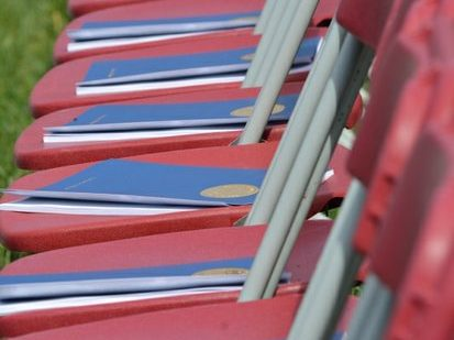 Program booklets placed on chairs during the 148th Commencement Convocation at Howard University on Saturday, May 7, 2016 in Northwest. /Photo by Patricia Little