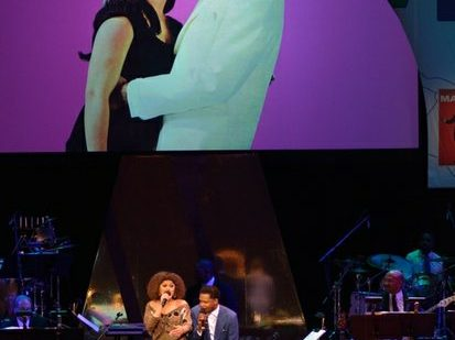 """Singers Andra Day (left) and BJ the Chicago Kid (right), perform """"Ain't Nothing Like the Real Thing,"""" at the Kennedy Center Spring Gala entitled, """"How Sweet It Is: A Tribute to Marvin Gaye,"""" on Sunday, June 5th in Northwest. /Photo by Patricia Little"""