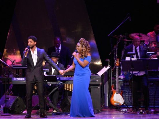 """Singer/actor Jussie Smollett of the FOX television show """"Empire,"""" and Ledisi perform a duet during the Kennedy Center Spring Gala tribute to Marvin Gaye,"""" on Sunday, June 5th in Northwest. /Photo by Patricia Little"""